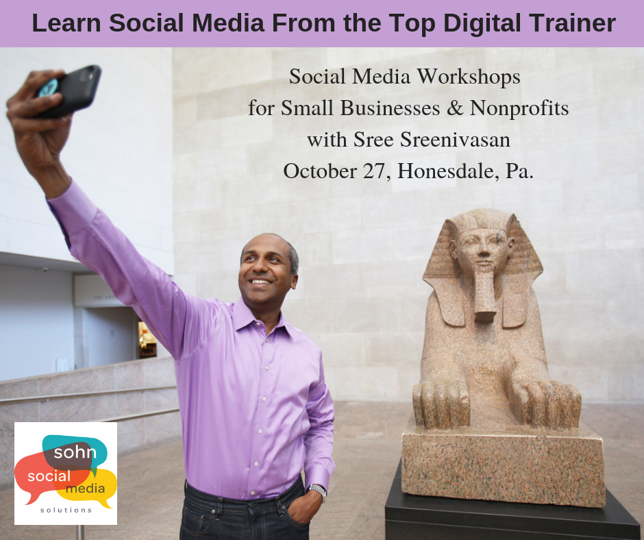 Sree Sreenivasan to present social media for small business and non-profit workshops at The Stourbridge Project in Honesdale PA on Oct. 27.